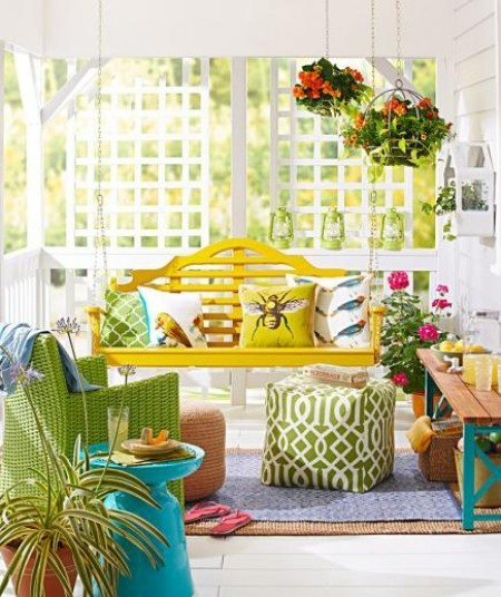 Kunterbunt Veranda gestalten grüne