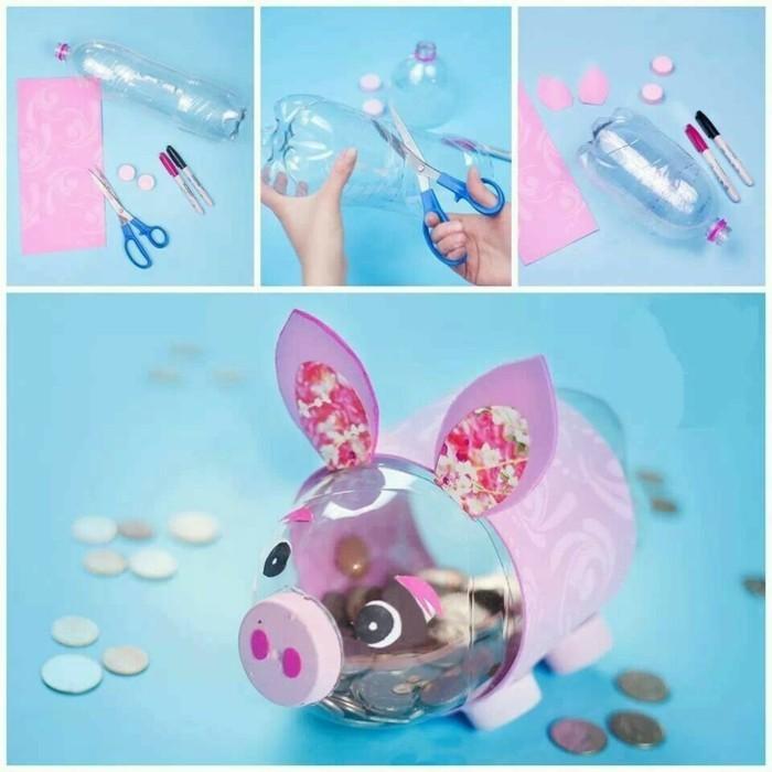 Recycling Basteln mit Plastikbechern PET Flaschen Spardose