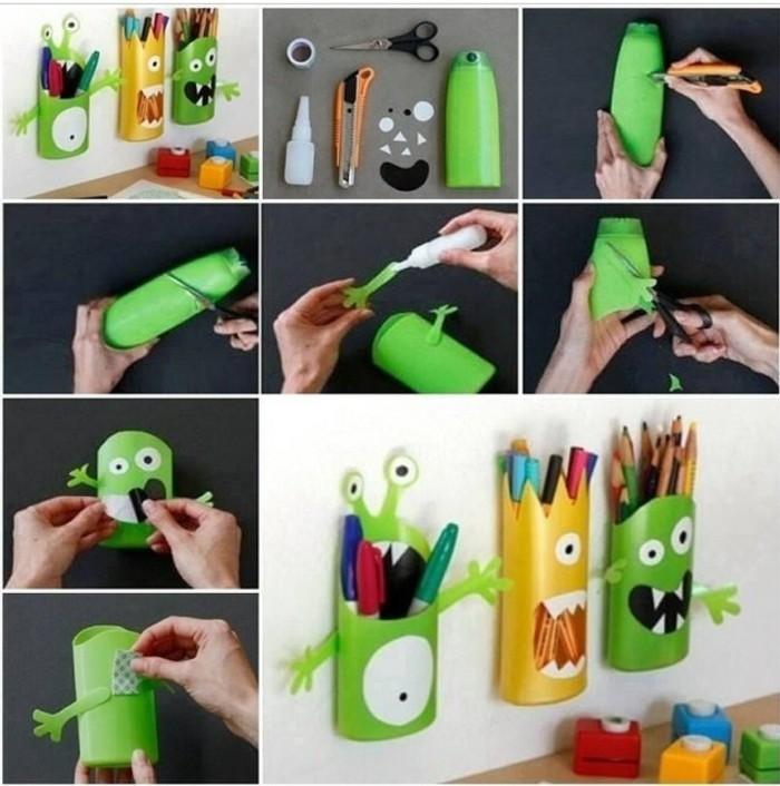 Recycling Basteln mit Plastikbechern shampooflasche upcycling ideen-resized
