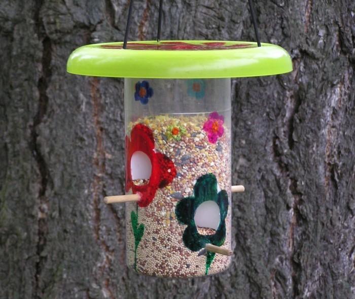 Recycling basteln Vogelfutterhaus bauen Müll reduzieren dosen