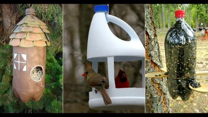 Recycling basteln Vogelfutterhaus bauen Müll reduzieren plastikflaschen