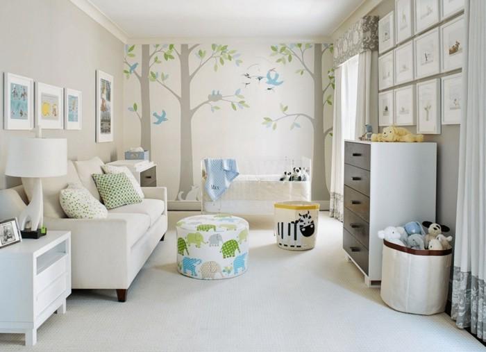 babyzimmer deko ideen bäume elefanten heller teppich wandbilder