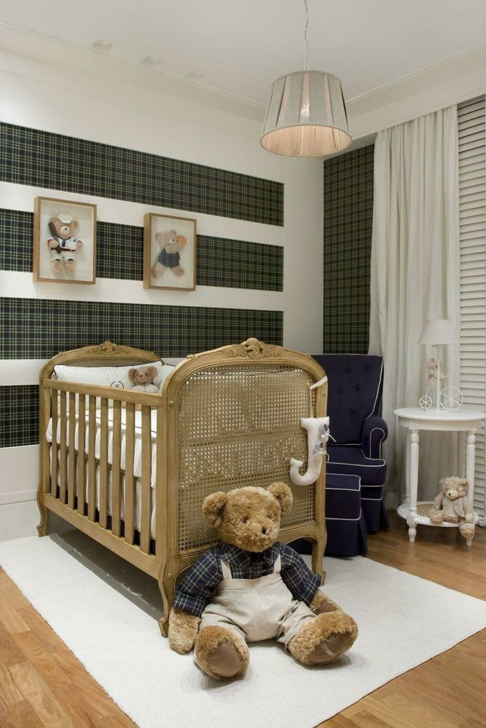 babyzimmer deko ideen jungen weißer teppich braunes design