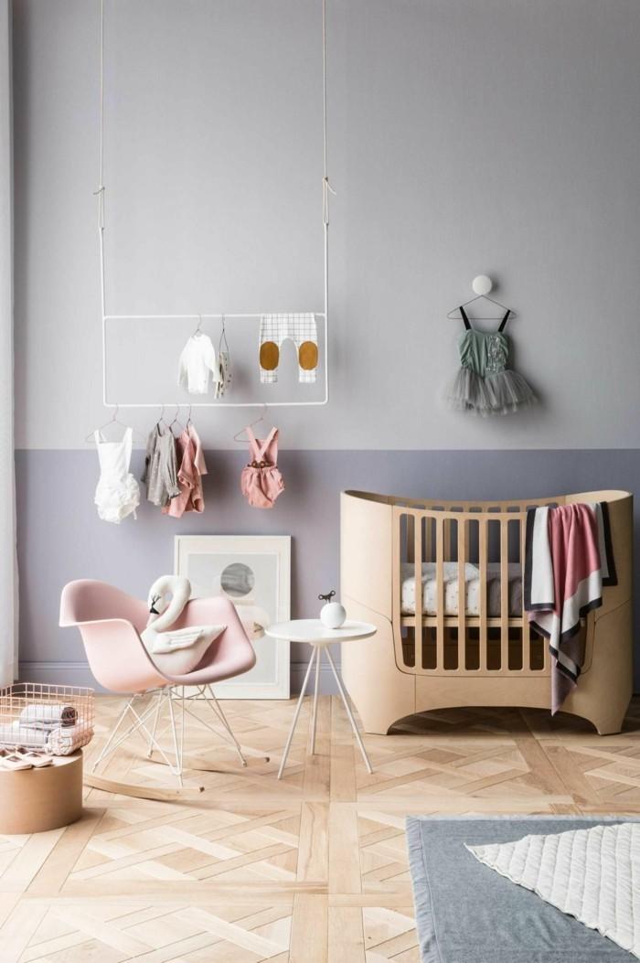 babyzimmer deko ideen mädchen schaukelstuhl schöner boden