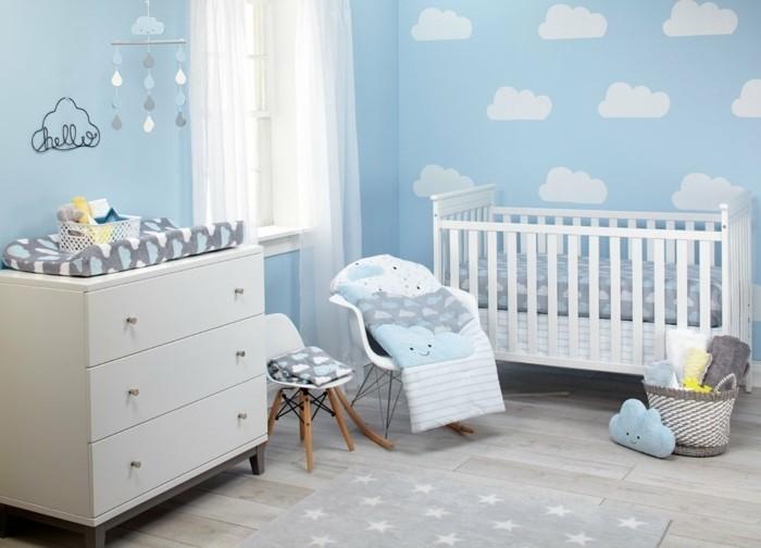 babyzimmer farben blaue wände wolken sternteppich