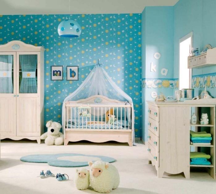 babyzimmer farben blautöne heller bodenbelag helle holzmöbel
