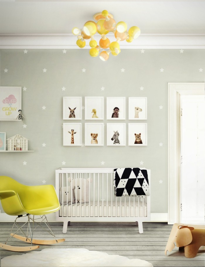 Uberlegen Babyzimmer Farben Dielenboden Gelber Schaukelstuhl
