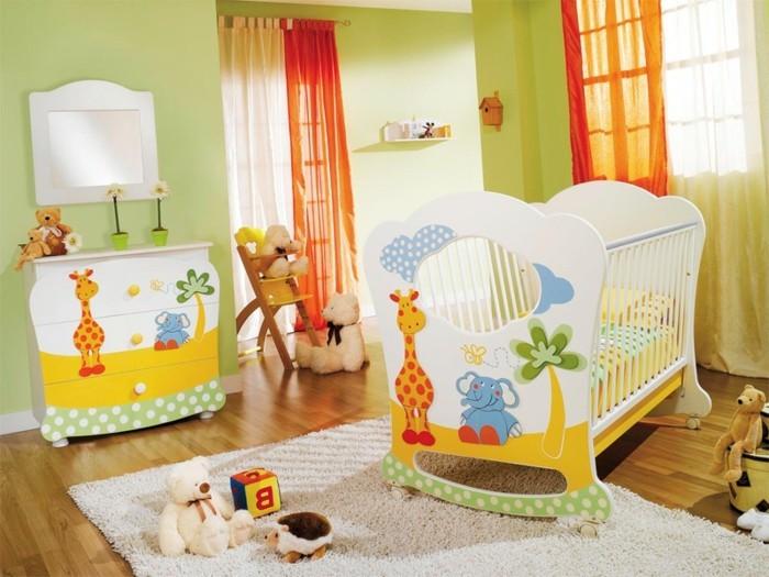 babyzimmer farben grüne wände weißer teppich fröhliche muster