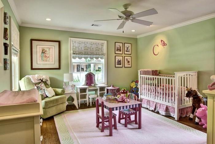 babyzimmer farben grüne wandfarbe weißer teppich