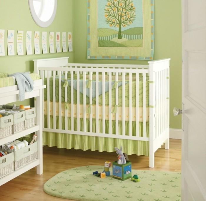 babyzimmer farben grüne wangestaltung frischer teppich