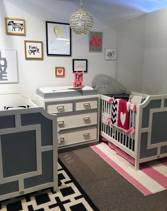 babyzimmer farben grautöne streifenmuster