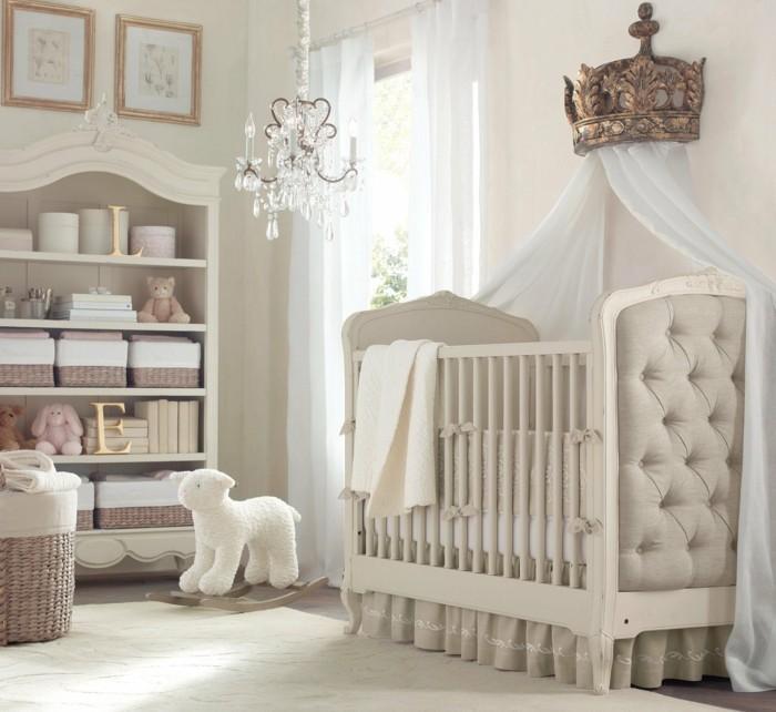 babyzimmer farben helle wandfarbe korbmöbel betthimmel