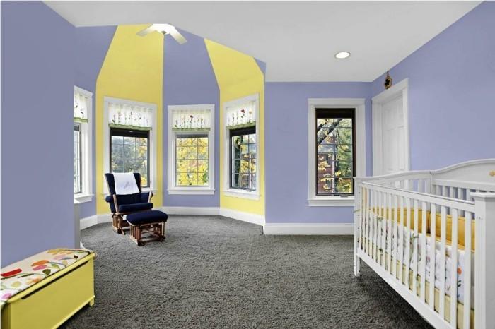 babyzimmer farben lila gelb kombinieren grauer teppichboden