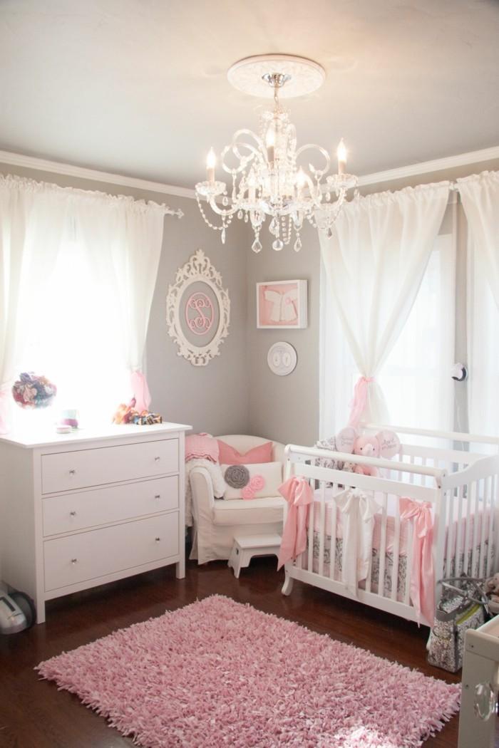 babyzimmer ideen mädchen passende farben rosa weiß
