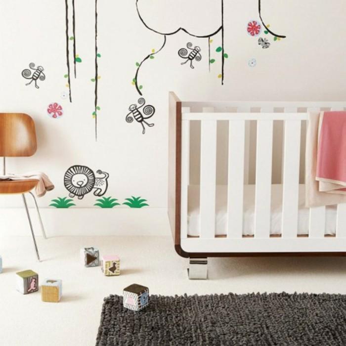 babyzimmer ideen modernes babybett dunkler teppich