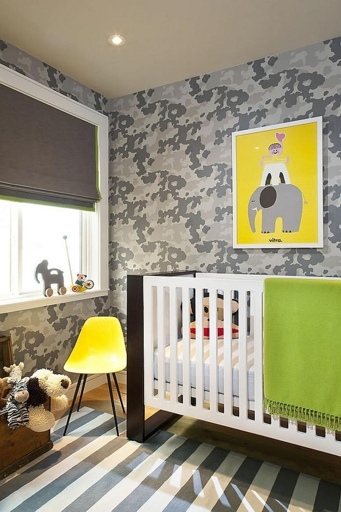 babyzimmer ideen modernes wanddesign streifenteppich frische akzente