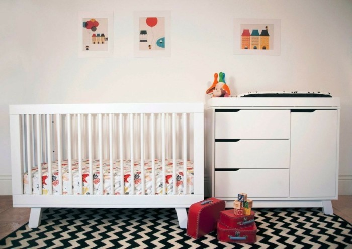 babyzimmer ideen passende möbel zig zag teppich