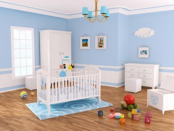 babyzimmer junge ideen blau weiß kombinieren geräumig