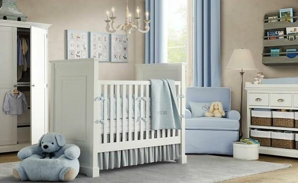 babyzimmer junge ideen blaue gardinen hellgrauer teppich