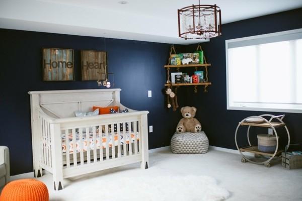 babyzimmer junge ideen farbkontraste weiß dunkelblau