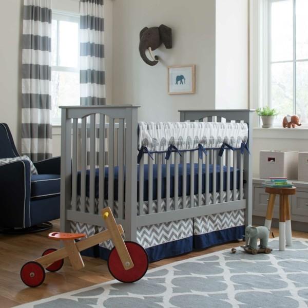 babyzimmer junge ideen grau blau weiß kombination