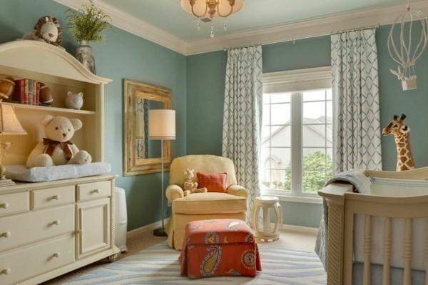babyzimmer junge ideen harmonische farbgestaltung frische gardinen teppich