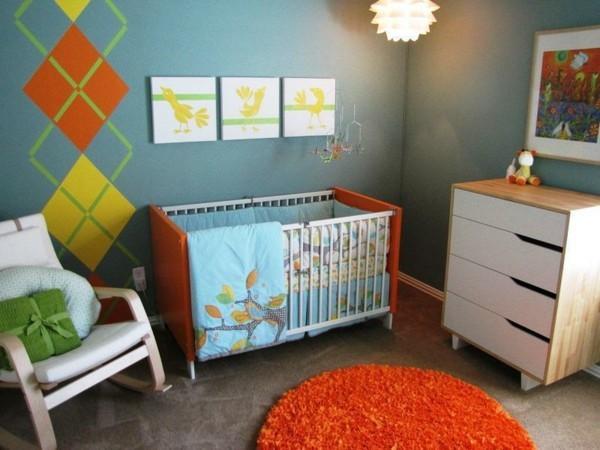 babyzimmer junge ideen runder teppich orange