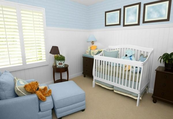 babyzimmer junge ideen blau weiß teppichboden