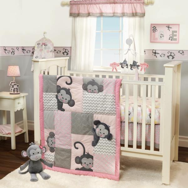 bordüre babyzimmer affen motive hellgrau rosa kombinieren