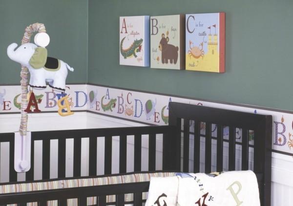 bordüre babyzimmer buchstaben lustigea wanddesign