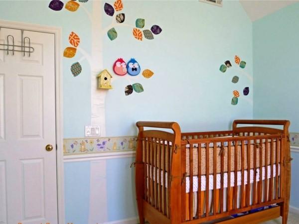 bordüre babyzimmer frische wandgestaltung blau grün