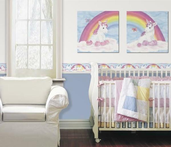 bordüre babyzimmer frisches design trendige muster mädchen