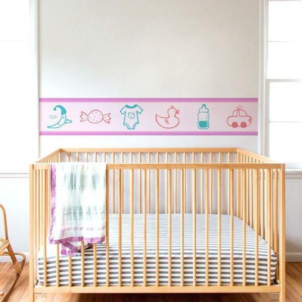 bordüre babyzimmer frisches muster mädchenhaft