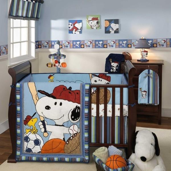 bordüre babyzimmer junge weißer teppich dunkle möbelstücke