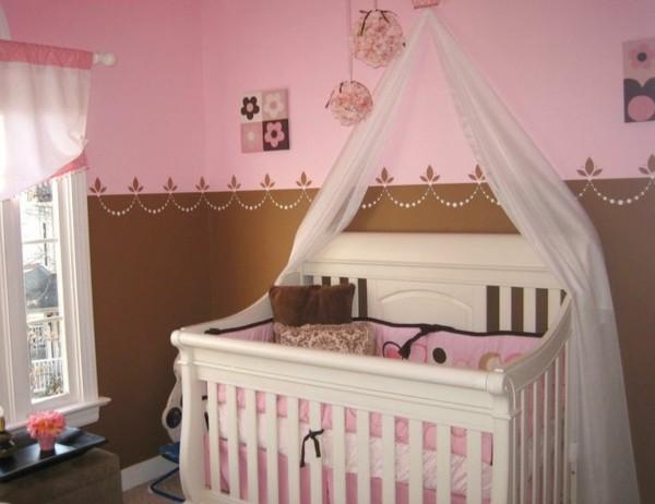 bordüre babyzimmer mädchen rosa braun kombinieren