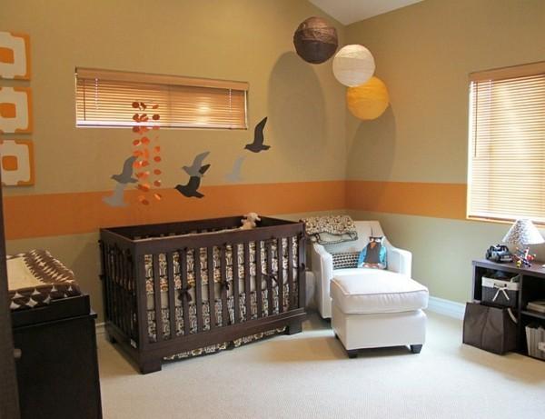 bordüre babyzimmer orange beige wände heller bodenbelag