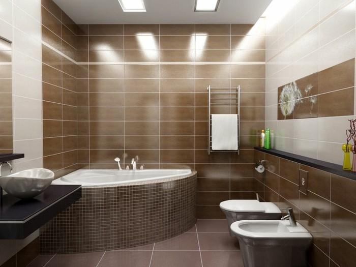 badezimmer braun eckwanne braunes badezimmer große bodenfliesen