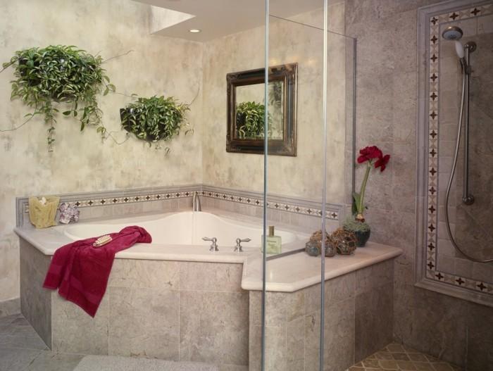eckwanne luxuriöses badezimmer gestalten neutrale farben harmonisch
