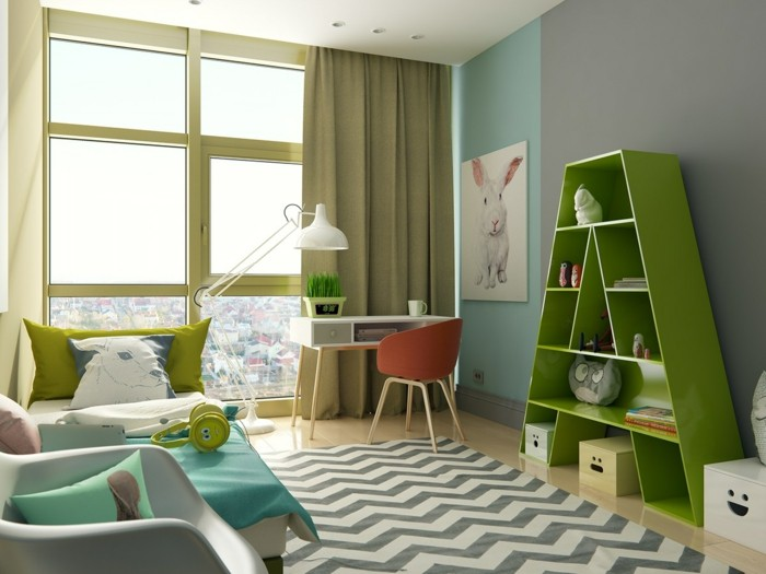 farbgestaltung kinderzimmer beruhigende farben grüntöne zig zag muster
