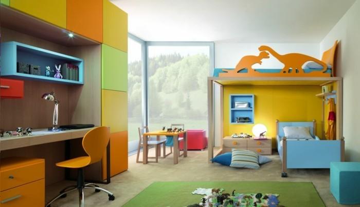 farbgestaltung kinderzimmer farbenfroh teppich bereiche abtrennen
