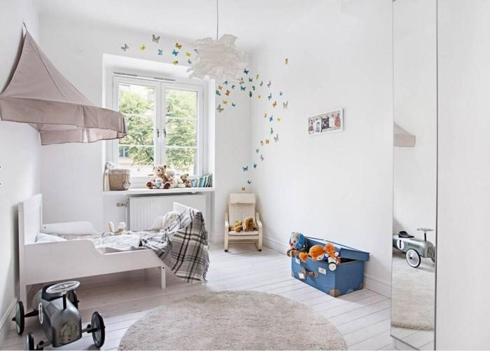 farbgestaltung kinderzimmer frisches design dielenboden runder teppich