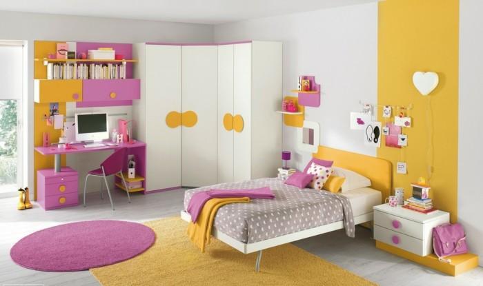 farbgestaltung kinderzimmer gelb lila farbkombination helle wände