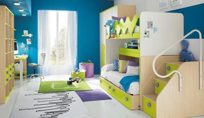 farbgestaltung kinderzimmer grün blau hochbett teppiche