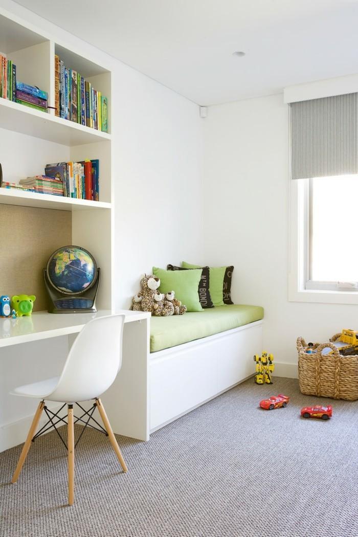 farbgestaltung kinderzimmer grauer teppichboden weiße wände