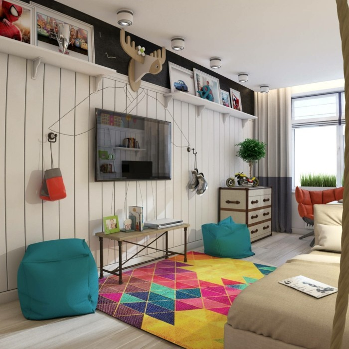 farbgestaltung kinderzimmer helle wände farbiger geometrischer teppich