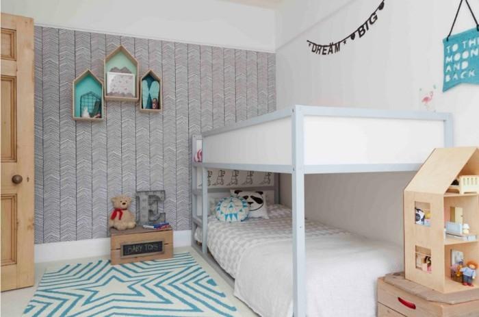 farbgestaltung kinderzimmer helles design teppich stern schöne wanddeko