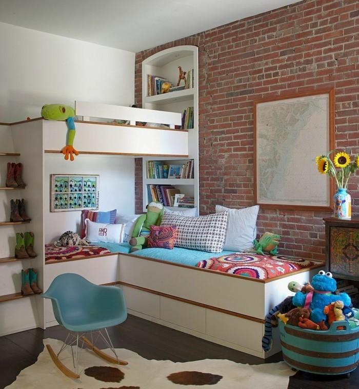 farbgestaltung kinderzimmer industrielle akzente schaukelstuhl