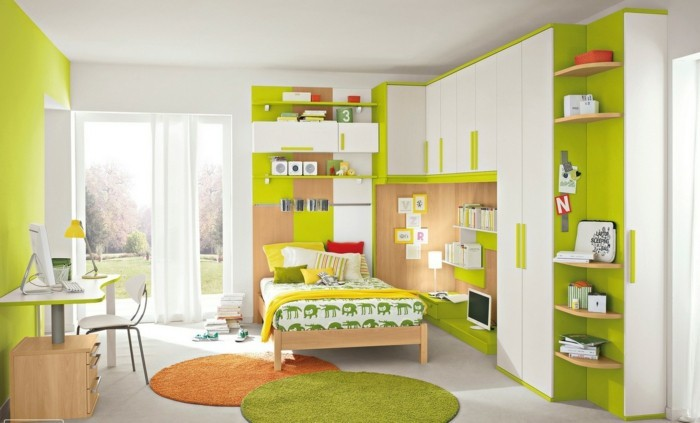 farbgestaltung kinderzimmer kleines kinderzimmer grün weiß