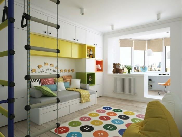 farbgestaltung kinderzimmer lernbereich sofa bunter teppich