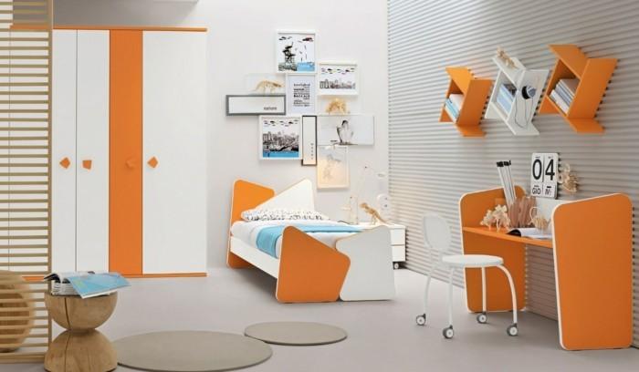 farbgestaltung kinderzimmer orange akzente wandbilder heller bodenbelag